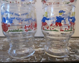 Glasses Nursery Rhyme Glasses Drinking Glasses Kitchen Glasses Juice Glasses Cottage Chic Farmhouse Kitchen