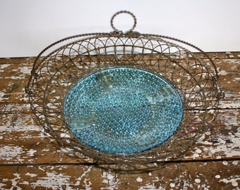 Wire Basket American Wire Basket Sandwich Glass Blue Glass Antique Plate Antique basket Shabby Chic