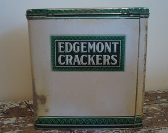 Tin Green Kitchen Antique Edgemont Crackers Tin Farmhouse Shabby Chic Chippy