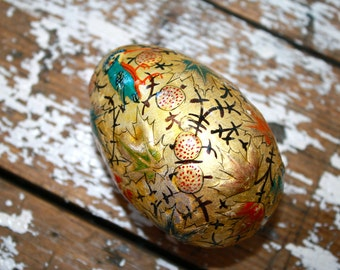Collectible Easter Egg Hand Painted Egg Birds of Paradise Foiled Egg