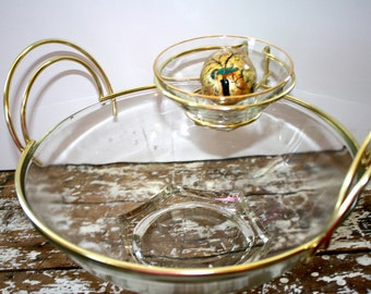 Chip and Dip Bowl Glass Bowl Gold Trimmed Bowl Serving Bowl Mid Century Bowl Modern Serving Bowl Vintage Bowl