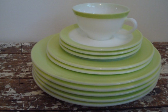 Pyrex Plate Lime Green Pyrex Plates, Saucers, and Cup set of 11 Vintage