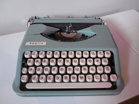 Portable Typewriter Empire Vintage Blue/Green Collectible