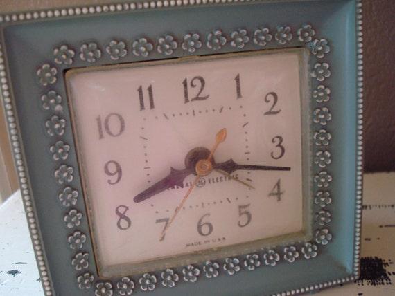 Vintage Clock Vintage Electronics Blue Shabby Chic Clock Flowers General Electric