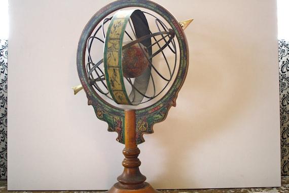 Vintage Globe Wooden Unique Italian Zodiac Globe