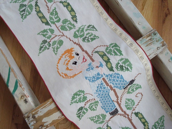 Growth Chart Vintage Hand Embroidered Child's Growth Chart