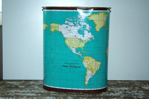 Vintage Trash Can Garbage Can Weibro Corp Map of the World Waste Paper Basket