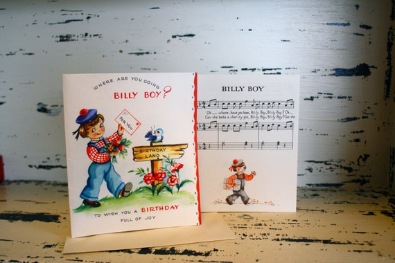 Vintage BIRTHDAY CARD, Billy Boy, STORYBOOK Card, Nursery Rhyme, 1940's, Unused