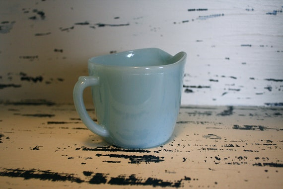 Turquoise Blue Fire King Creamer Azurite