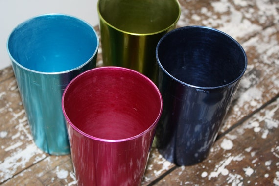 Aluminum Metallic Vintage Glasses Colorful Cups