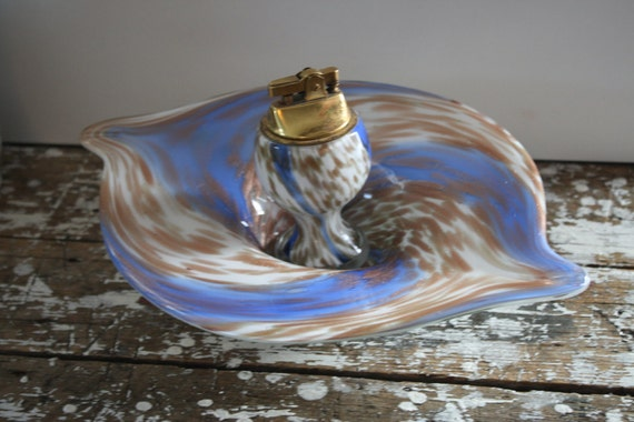 Vintage Hand Blown Murano Art Glass Ashtray and Lighter  RARE SET