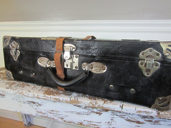 HOLD for Janice  Suitcase Antique Samson Luggage  Movie Prop Suitcase Luggage for Home Decor Leather Suitcase