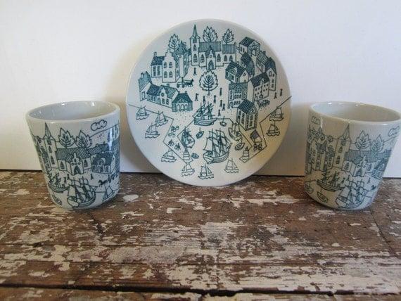 Nymolle Art Fainece Denmark Folk Art Plate and Cup Hand Painted Art