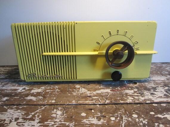 Vintage Mid Century Modern  Radio Coronado Yellow Radio Mad Men Moderne Bakelite
