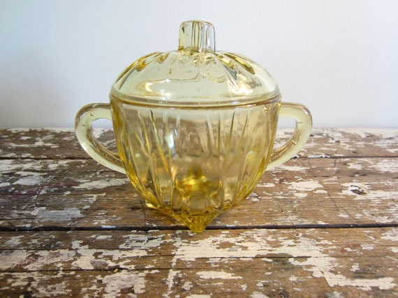 Vintage Yellow Glass Covered Sugar Bowl Glass Bowl