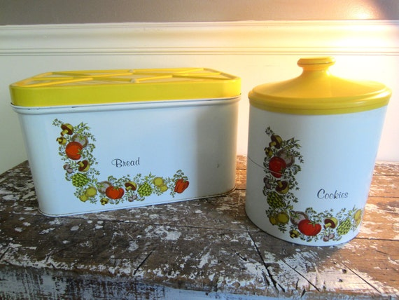 Vintage Bread Box Chenco Bread Box and Cookie Jar Yellow with Veggies