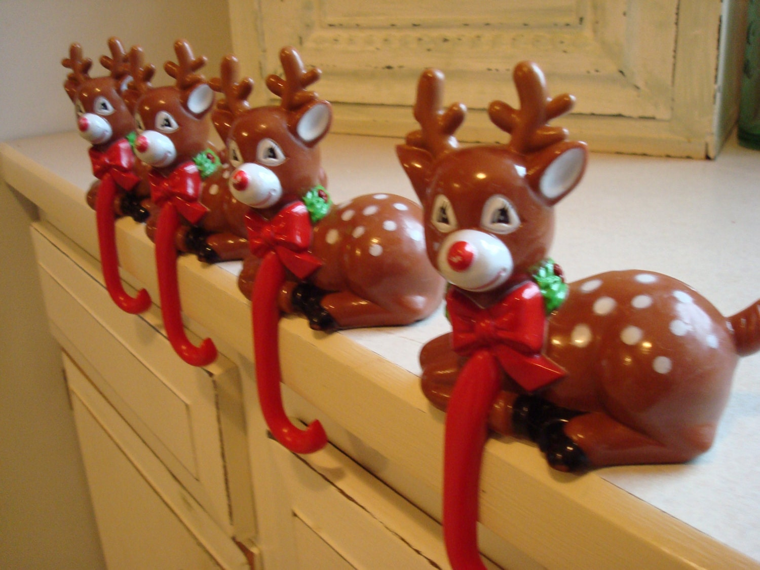 Reindeer christmas stocking hangers by vintageshoppingspree