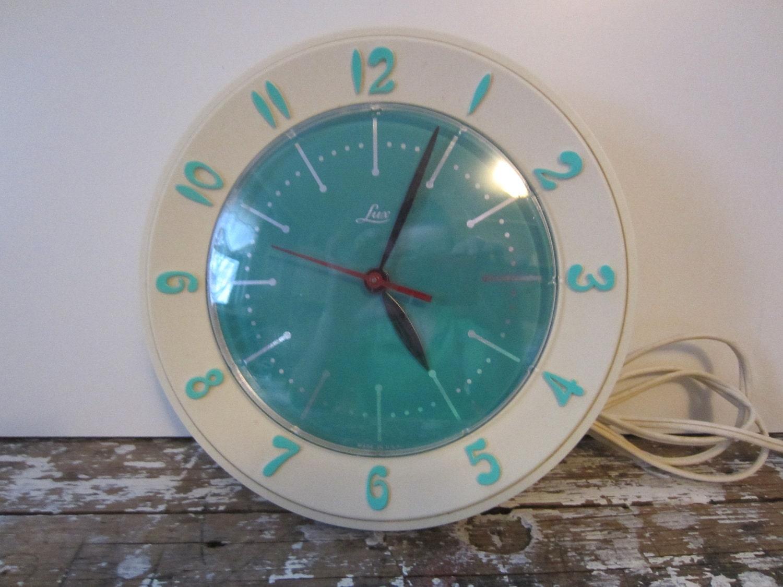Vintage Kitchen Clock Turquoise Lux Clock Kitchen Clock
