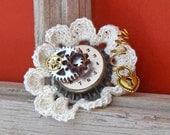 Steampunk White Crochet Flower Clip