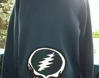 Grateful Dead hippie sweatshirt with steal your face and lightning bolt appliqué