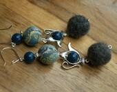 Navy, grey, felt, fimo and teapot earrings