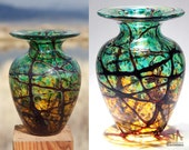 Earthy Green and Amber Vase with Ruby Random Wrap