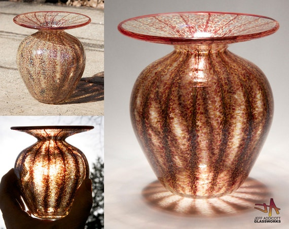 Handblown Glass Vase - Classic Shape with Earthy Savannah and Ruby Stripes