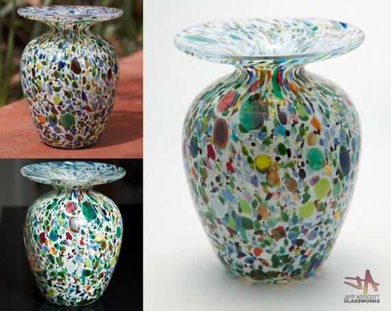 Multi Color Hand Blown Glass Vase
