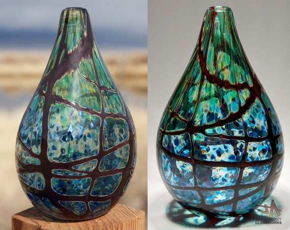 Earthy Green and Blue Flattened Teardrop Vase (large)