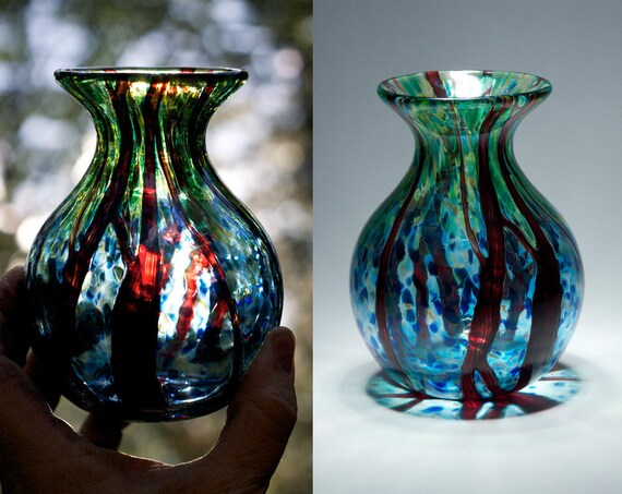 Earthy Green and Blue Glass Vase with Ruby Random Wrap