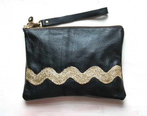 Black Leather Clutch with Metallic Gold. ECO Leather