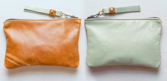 M I N T  and Caramel Leather Wallet. Small leather Pouch. Sea Foam Leather Wallet