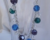 Green Amethyst Aqua Crystal Bracelet & Earring Set