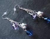 Blue and Silver Glass Beaded Dangle Pierced Earrings