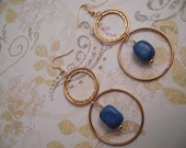 Large Gold Hoop and Faux Turquoise Blue Pierced Earrings