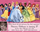 Disney Princess Birthday Party Invitation 5 Options Available - Digital File