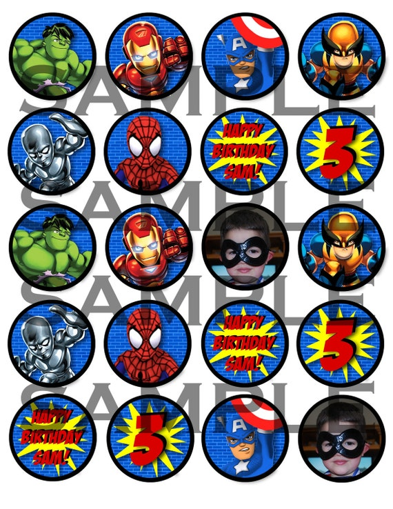 Superhero Squad Cupcake Toppers or Stickers to Print- Digital File