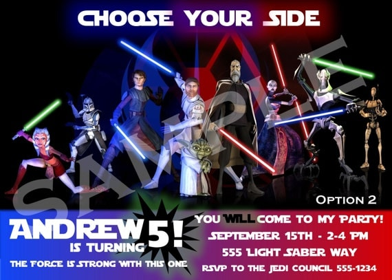 Star Wars Birthday Invitations 5 Options - Digital File