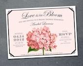 Vintage Hydrangea Bridal Shower Invitation