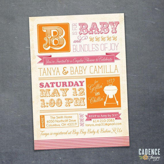 BBQ Baby Shower Invitation, Couples Shower Invitation, Coed Shower (PRINTABLE)