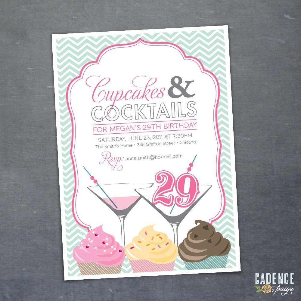 29th 30th 40th 50th Birthday Party Invitation Cupcakes