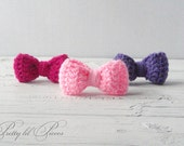 Set of 3 hair bow barrettes (light pink, purple, and fuchsia)