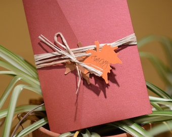 Fall pocket wedding invitation