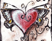 "6"" MY LOVE Heart with Wings Print on Black Grosgrain Ribbon or Hand Rusted Rings"