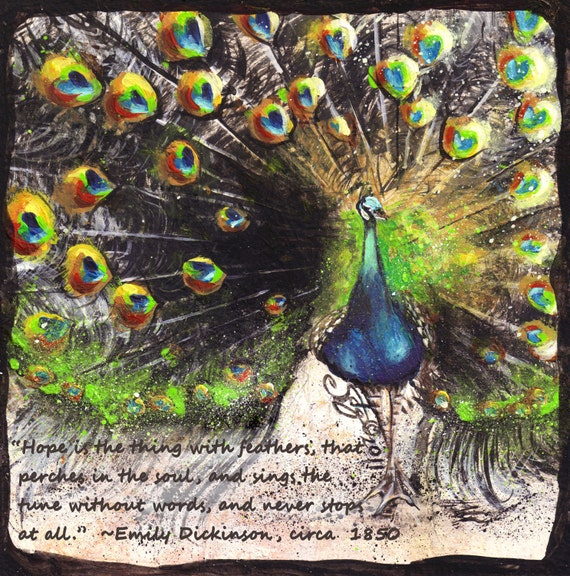 Inspirational Decor Azure Peacock Mounted Print with Dickenson Quote
