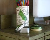 Upcycled Pencil Holder and Paperclip Tin with Bronx New York Map Wrap and Pearlized Olive Green Button Embellishments