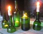 Set of Emerald Green Wine Bottle Candle Holders/Hurricanes PLUS 2 Cork Candles and a Votive