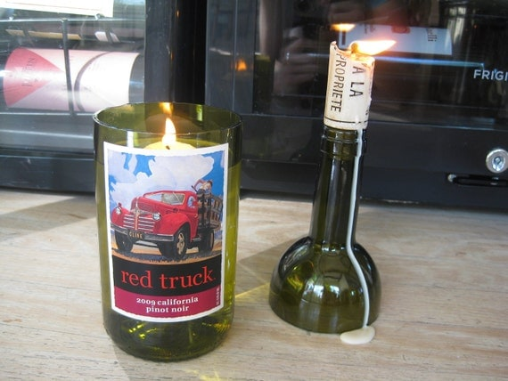 Red Truck Wine Bottle Vase/Candle Holder PLUS by ...