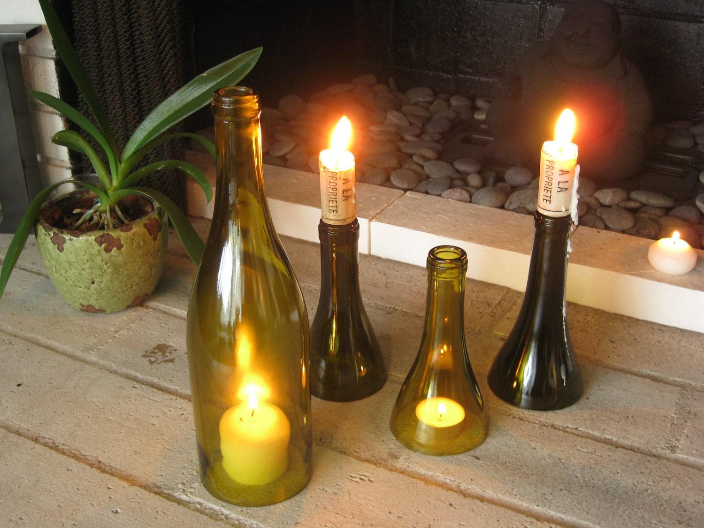 Wine Bottle Hurricane Candle Holder Plus Votive Candle