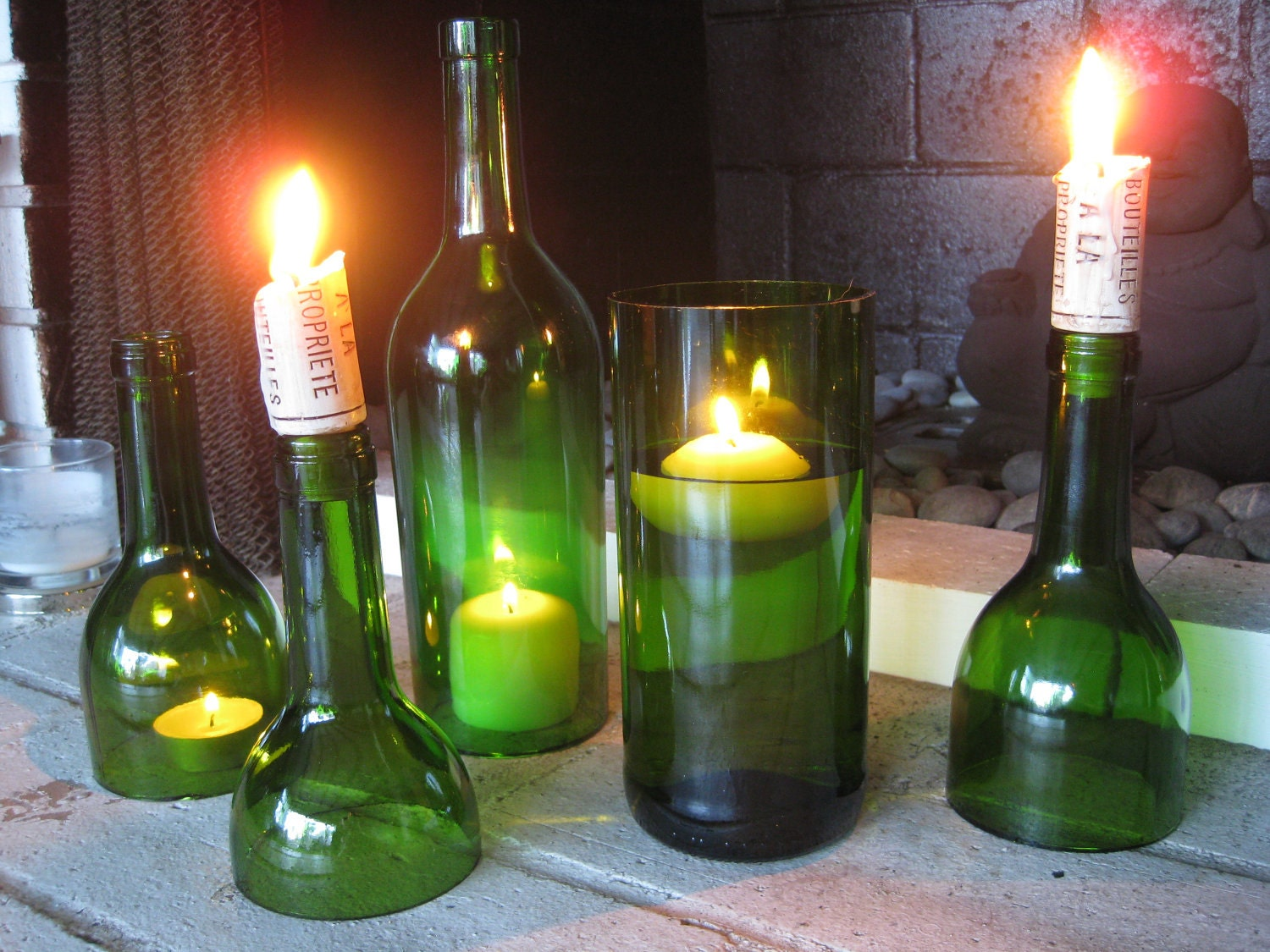 Set of emerald green wine bottle candle holders hurricanes for Champagne bottle candle holders